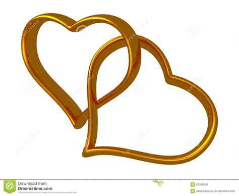 imagenes de corazones oro dos corazones de oro conectados juntos imagen de archivo