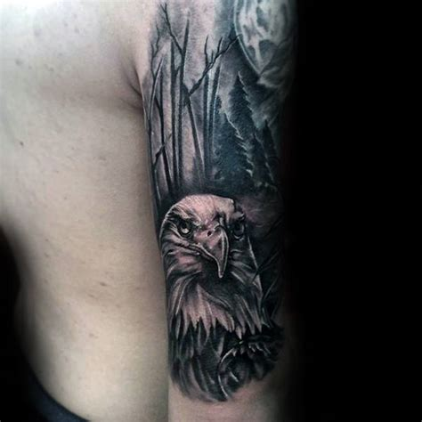 eagle quarter sleeve tattoo 100 forest tattoo designs for men masculine tree ink ideas