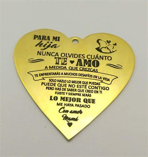 cadena de oro que diga te amo hermoso collar coraz 243 n con frase madre a hija 440 00