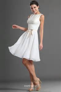 white boat neck sleeveless empire lace bodice a line knee length bridesmaid prom dress