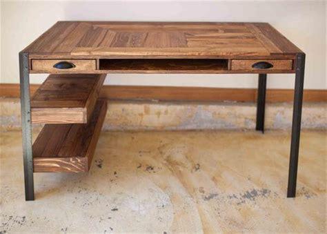 Diy Wood Desk Pallet Desk With Drawers And Shelves Pallet Furniture Diy