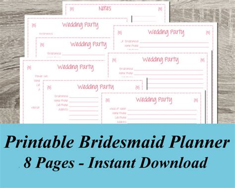 printable wedding planner for bridesmaids instant download bridesmaid wedding party planner pdf