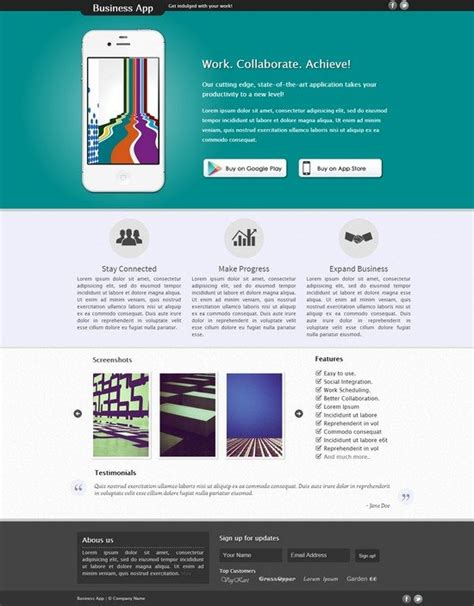 app landing page template 32 best html landing page templates web resources free