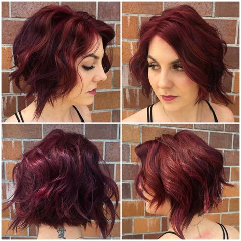 burgundy short messy bob women s messy waves on angled textured bob with face