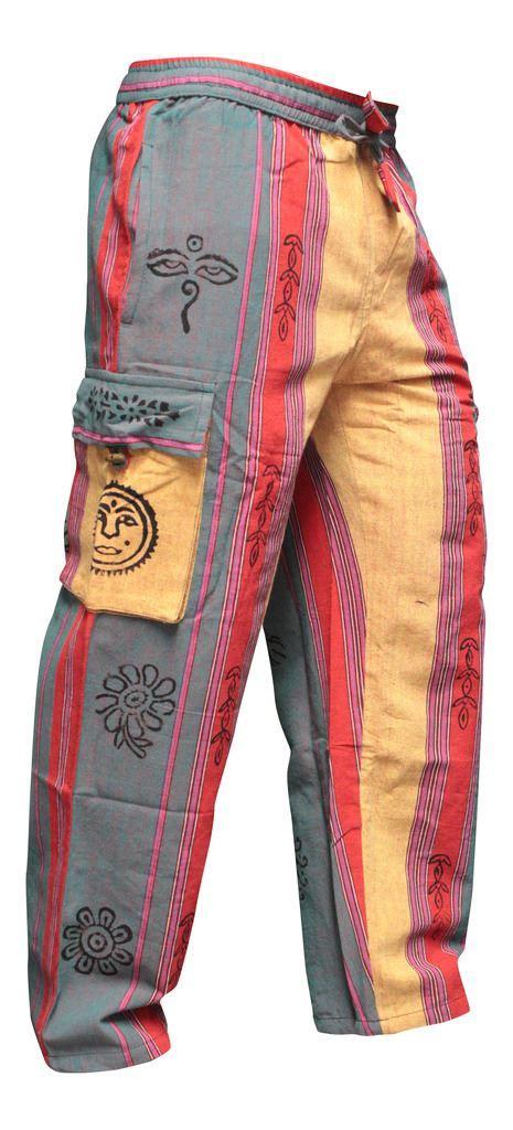Mens Hippie Patchwork - mens patchwork cargo pockets hippie trousers festival