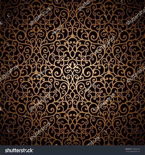 gold pattern seamless vintage gold background vector seamless pattern stock