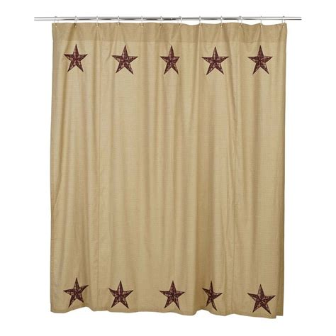 Shower Curtains Rustic Landon Shower Curtain Appliqued Country Rustic Checked Khaki Primitive Ebay