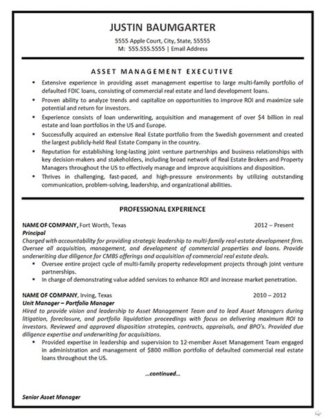 Resume For Real Estate Job by Asset Management Resume Example