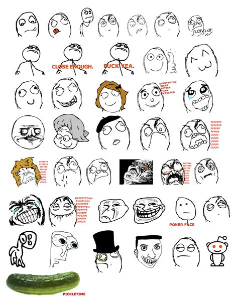 Internet Face Meme - names of all troll meme faces