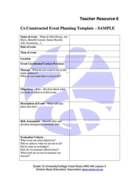 concert planning template event planning template in word and pdf formats
