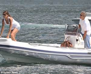 dinner on a boat lake como george clooney and new girlfriend elisabetta canalis go on