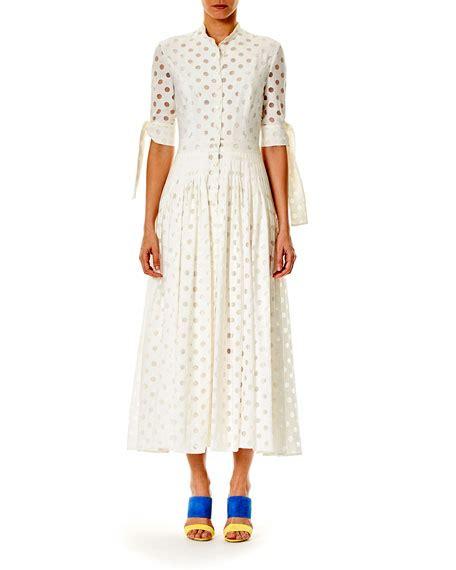 Dotted Sleeve Midi Dress carolina herrera button front 3 4 sleeve dotted midi dress