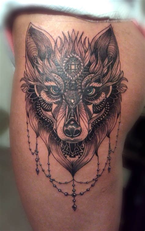 front thigh tattoos wolf front thigh ideas thighs