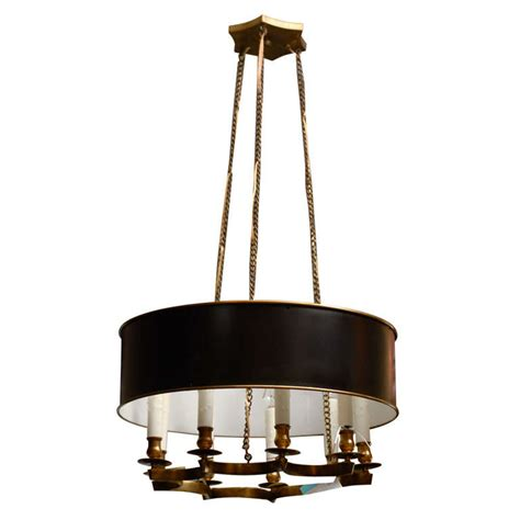 Custom Chandelier Shades Mid C Chandelier With Custom Bouillotte Tole Shade At 1stdibs