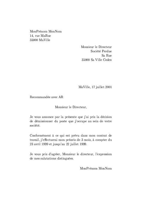 Modèle De Lettre De Démission Gratuite exemple de lettre de d 233 mission ouvrier covering letter