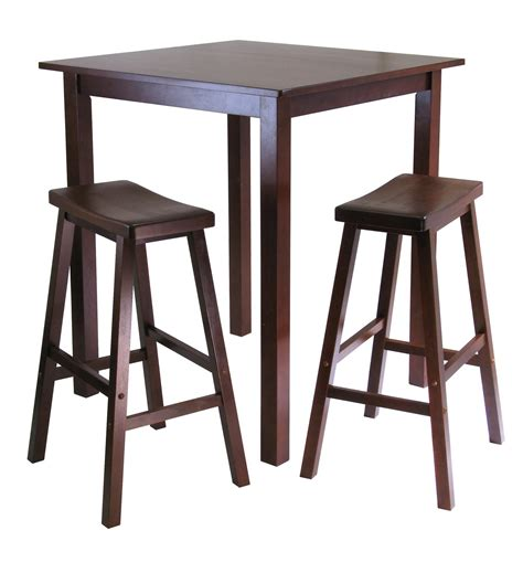 High Bar Table Set Winsome Parkland 3pc Square High Pub Table Set With 2 Saddle Seat Stools By Oj Commerce 94349