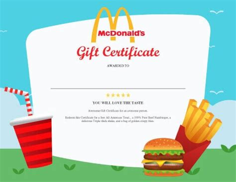 printable mcdonalds gift certificates 13 free printable gift certificate templates birthday