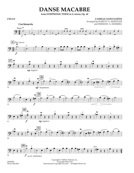 macabre music download danse macabre cello sheet music by herman