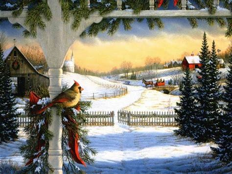 google images christmas scenes cardinal snow barn pine old fashion christmas pinterest