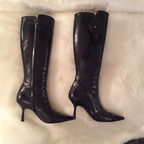 patent high heel boots chanel authentic vintage black leather and black patent
