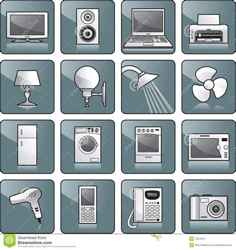 icon set home equipment stock vector image of computer