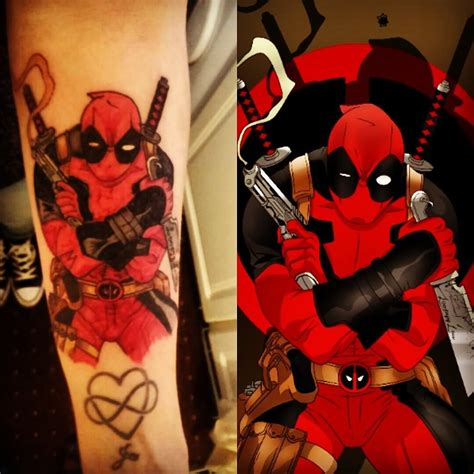 classic deadpool tattoo design for sleeve by loopyylou