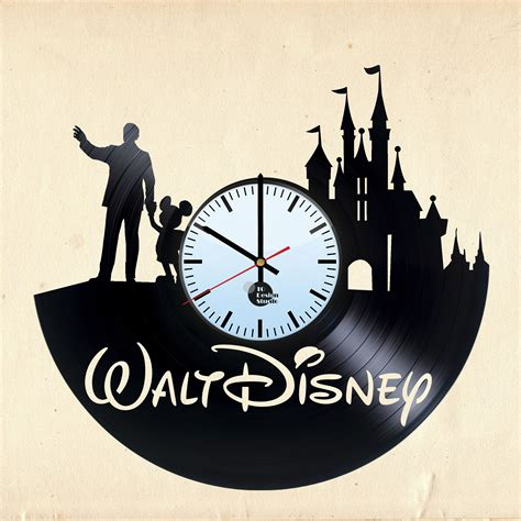 Vintage Home Office Decor Walt Disney World Handmade Vinyl Record Wall Clock Fan