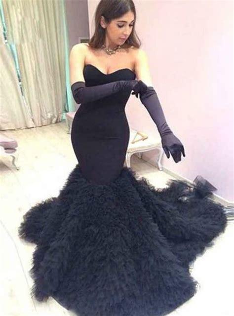 sweetheart black mermaid wedding dresses tulle elegant