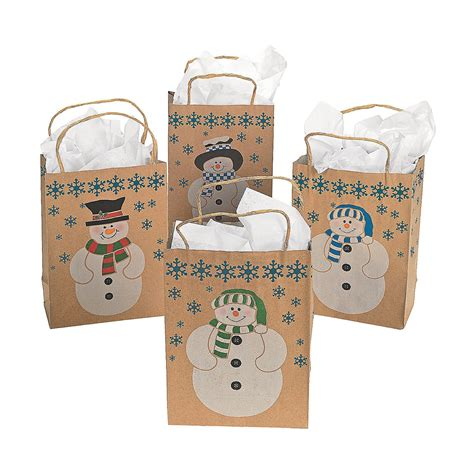 Paper Craft Bags - 12 snowman gift bags w jute cord handles