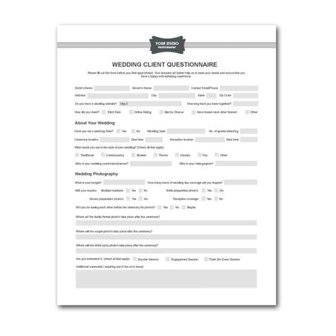 wedding planner questionnaire template printable sle wedding photography contract template