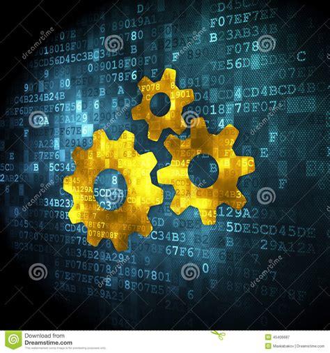 design concept background web design concept gears on digital background stock
