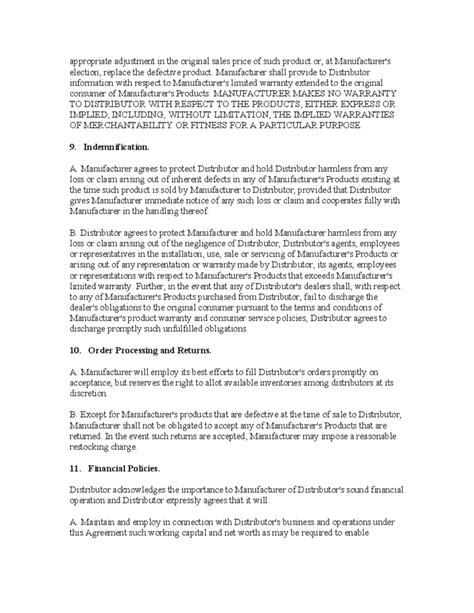 Exclusive Distributorship Agreement Free Download Sle Distributor Agreement Template