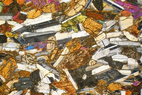 hypersthene in thin section layered hypersthene gabbro scotland thin section