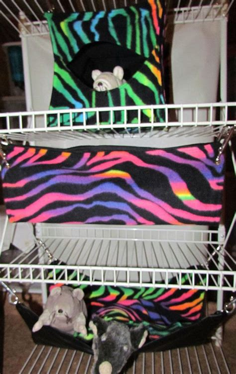 Ferret Bedding Sets 3pc Ferret Hammocks Bedding Chinchilla Rabbits Guinea Pigs Pet Rats Hammocks Rainbow Zebra