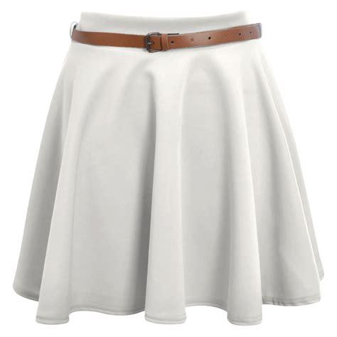 skater skirt womens belted flared plain mini skirt