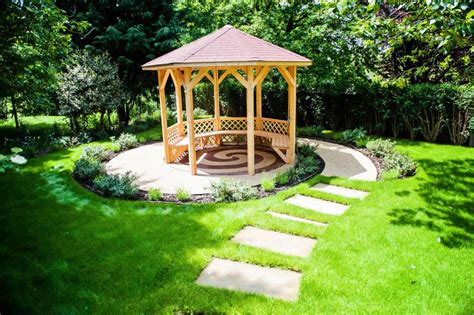 backyards with gazebos small garden gazebo with pathways green garden in backyard