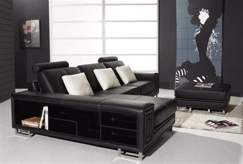 t957 modern black leather sectional sofa black design co