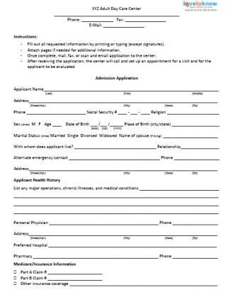 Admission Form For Adult Day Care Center Lovetoknow Child Care Employment Application Template