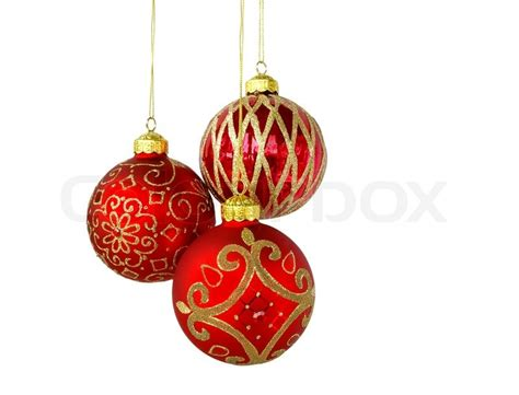 christmas tree ornaments hanging isolated on white