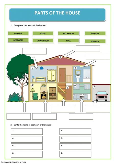 parts house parts of the house interactive worksheet