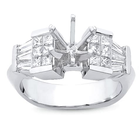 princess cut and baguette step invisible ring