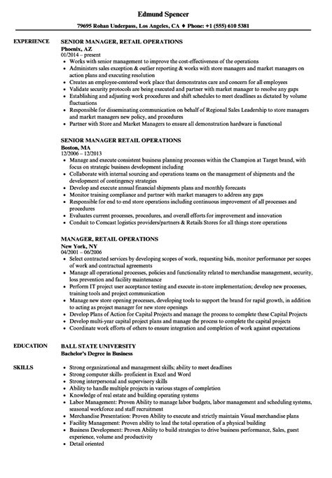 resume format for retail operations manager manager retail operations resume sles velvet