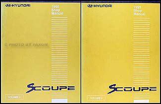 1995 hyundai scoupe repair shop manual original 2 volume set