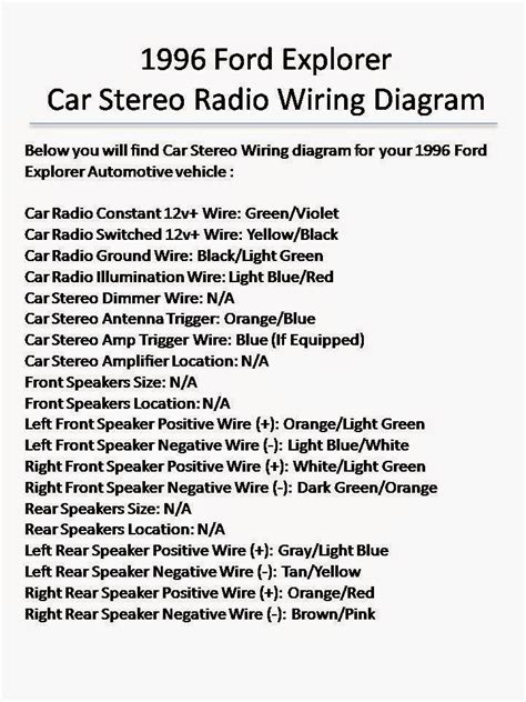 1996 ford ranger radio wiring diagram schematic wiring