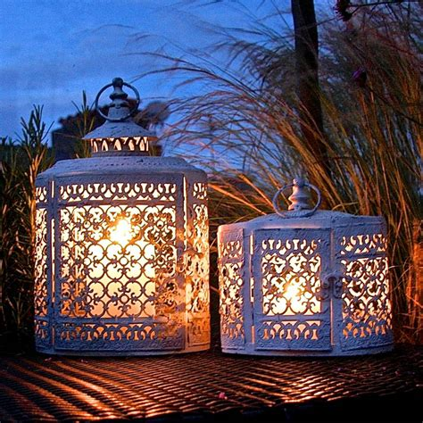 Pair Of White Oval Filigree Lanterns By London Garden Outdoor Lights Sale Uk