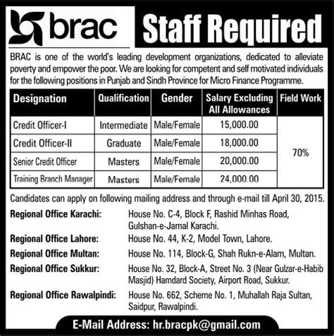 Brac Mba Admission 2015 by Brac Pakistan 2015 April Credit Officers Branch