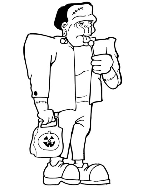 frankenstein coloring page trick or treating