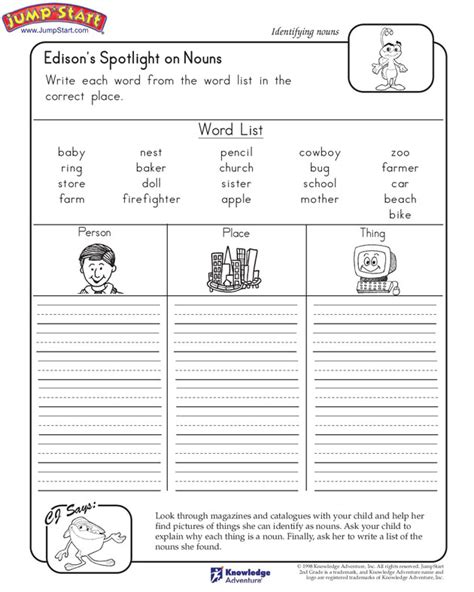 Grammar Worksheets For 2nd Grade by Edison S Spotlight On Nouns Free Worksheet For