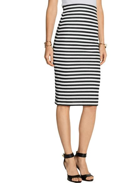 milly riviera striped cotton blend jersey pencil skirt