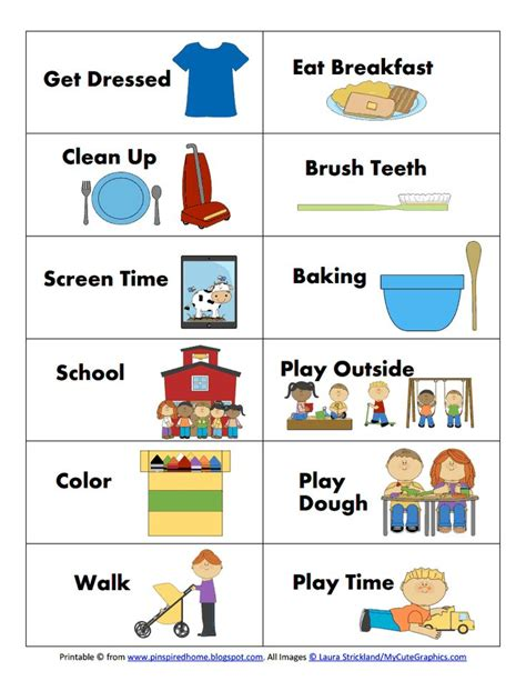 printable visual schedule cards 17 best images about picture schedules on pinterest